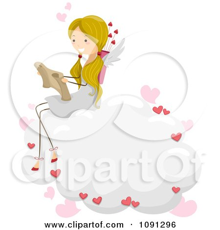Clipart Girl Cupid Reading A Love Letter On A Cloud - Royalty Free Vector Illustration by BNP Design Studio
