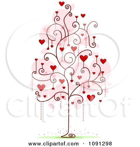 Clipart Tree With Red Heart And Spiral Foliage - Royalty Free Vector Illustration by BNP Design Studio