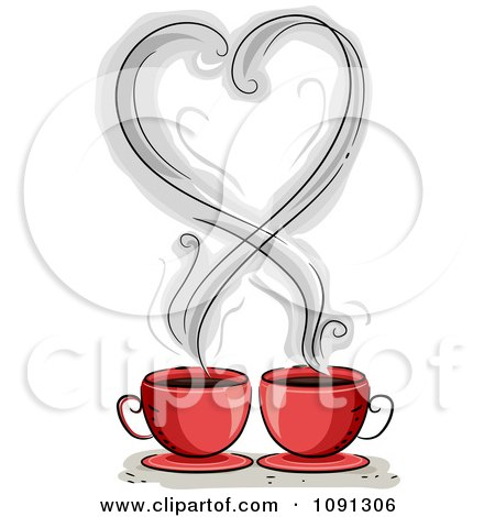 Clipart Heart Shaped Coffee Steam Over Two Red Mugs - Royalty Free Vector Illustration by BNP Design Studio