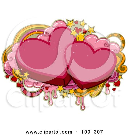 Clipart Two Pink Hearts And Valentine Grunge - Royalty Free Vector Illustration by BNP Design Studio