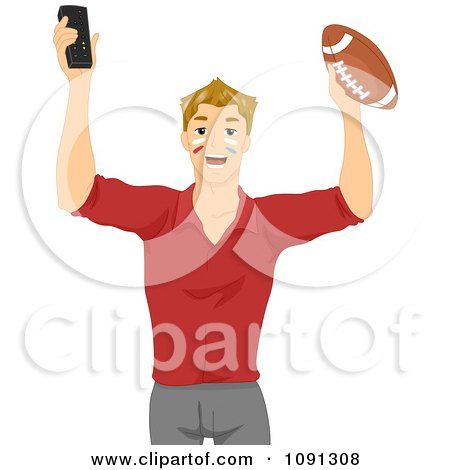 Clipart Football Fan Holding Up A Remote And Ball - Royalty Free Vector Illustration by BNP Design Studio