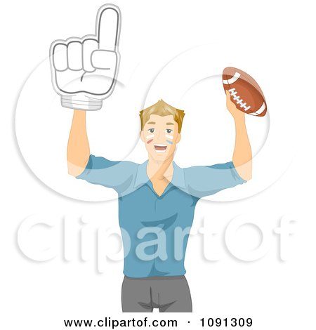 Clipart Football Fan Holding Up A Number One Hand And Ball - Royalty Free Vector Illustration by BNP Design Studio