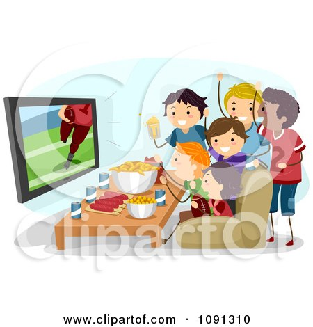 Clipart Group Of Teenagers Watching A Super Bowl Football Game On Tv - Royalty Free Vector Illustration by BNP Design Studio