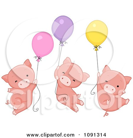 Clipart Three Pigs Floating With Balloons On Pig Day - Royalty Free Vector Illustration by BNP Design Studio