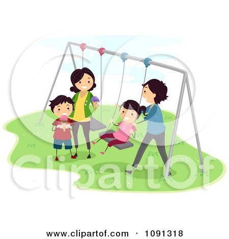 Clipart Happy Family Playing On A Swing Set - Royalty Free Vector Illustration by BNP Design Studio