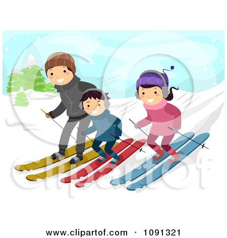 Clipart Happy Family Skiing Down A Slope - Royalty Free Vector Illustration by BNP Design Studio