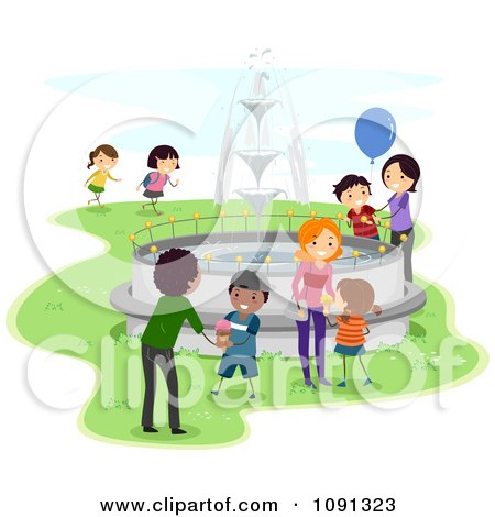 Clipart Parents And Kids Playing By A Fountain In A Park - Royalty Free Vector Illustration by BNP Design Studio