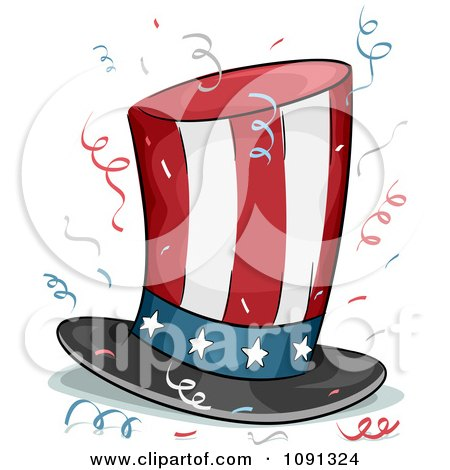Clipart American Stars And Stripes Top Hat And Confetti - Royalty Free Vector Illustration by BNP Design Studio