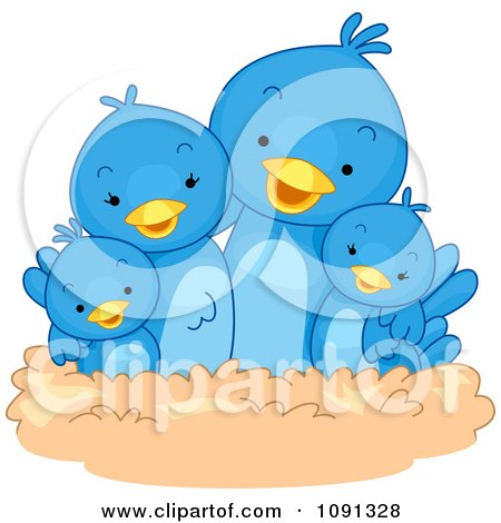 Cute Blue Bird Family In A Nest Posters, Art Prints