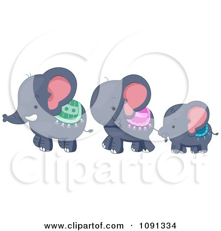 Clipart Cute Elephant Family Walking - Royalty Free Vector Illustration by BNP Design Studio
