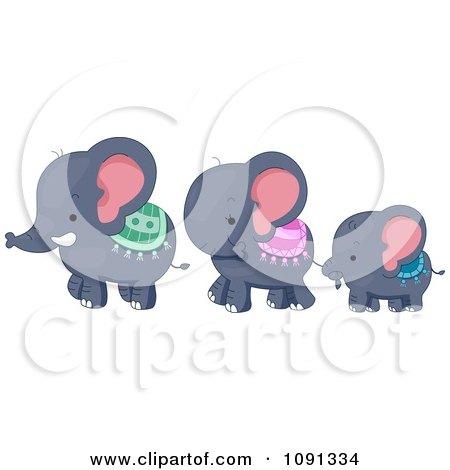 Cute Elephant Family Walking Posters, Art Prints