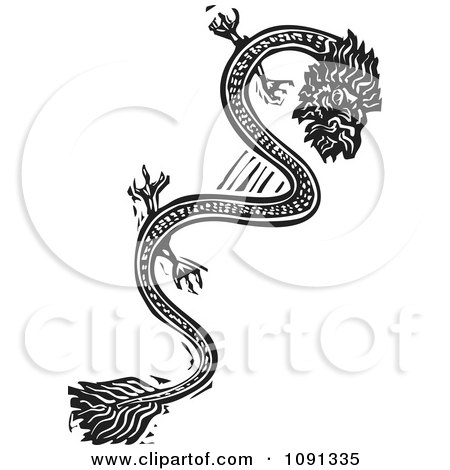 Clipart Chinese Dragon Black And White Woodcut - Royalty Free Vector Illustration by xunantunich