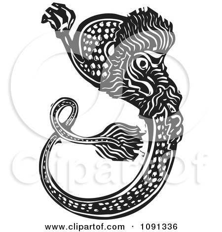Clipart Chinese Woodcut Dragon Black And White - Royalty Free Vector Illustration by xunantunich