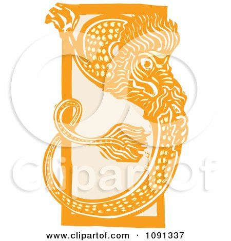 Clipart Chinese Dragon Orange Woodcut - Royalty Free Vector Illustration by xunantunich