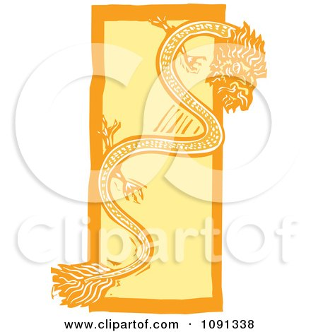 Clipart Chinese Dragon Orange And Yellow Woodcut - Royalty Free Vector Illustration by xunantunich