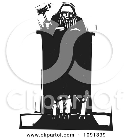 Clipart Judge Holding A Gavel At A Podium In Front Of Tiny People Black And White Woodcut - Royalty Free Vector Illustration by xunantunich