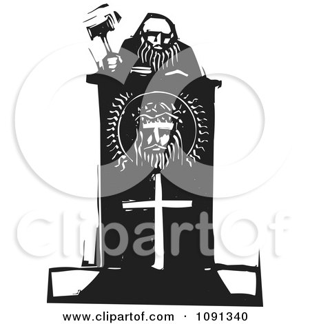 Clipart Judge Holding A Gavel At A Christian Podium Black And White Woodcut - Royalty Free Vector Illustration by xunantunich