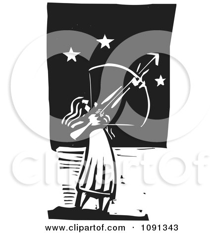 Clipart Female Archer Aiming At The Stars Black And White Woodcut - Royalty Free Vector Illustration by xunantunich