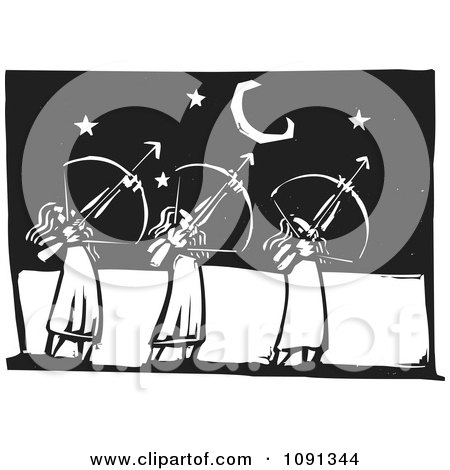 Clipart Three Female Archers Aiming At The Stars Black And White Woodcut - Royalty Free Vector Illustration by xunantunich