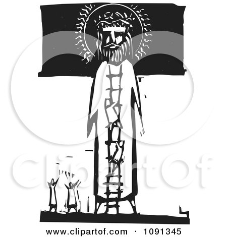 Clipart Little People Praising And Climbing A Ladder To Jesus Black And White Woodcut - Royalty Free Vector Illustration by xunantunich