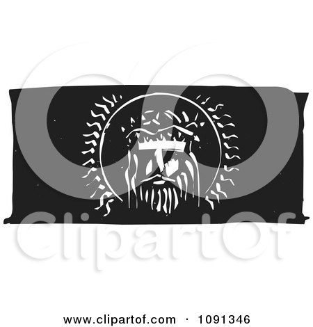 Clipart Jesus Head Black And White Woodcut - Royalty Free Vector Illustration by xunantunich