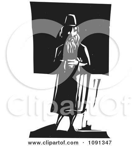 Clipart Man Standing Alone Black And White Woodcut - Royalty Free Vector Illustration by xunantunich