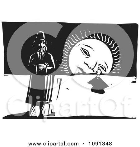 Clipart Man And Person By A Sad Setting Sun Black And White Woodcut - Royalty Free Vector Illustration by xunantunich