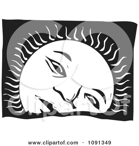 Clipart Sad Sun Setting Black And White Woodcut - Royalty Free Vector Illustration by xunantunich
