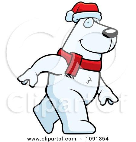 Clipart Walking Christmas Polar Bear - Royalty Free Vector Illustration by Cory Thoman