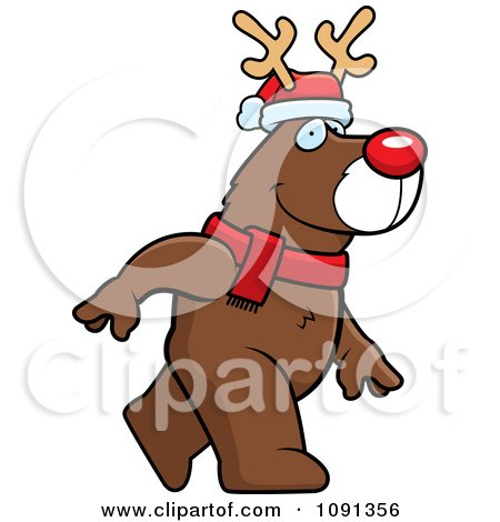Clipart Walking Christmas Rudolph Reindeer - Royalty Free Vector Illustration by Cory Thoman