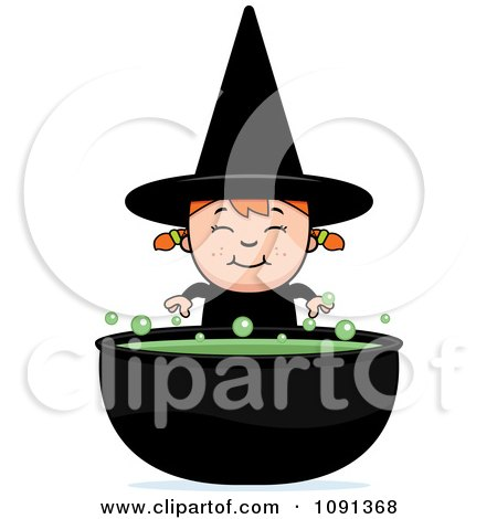 Happy Halloween Witch Girl And Cauldron Posters, Art Prints