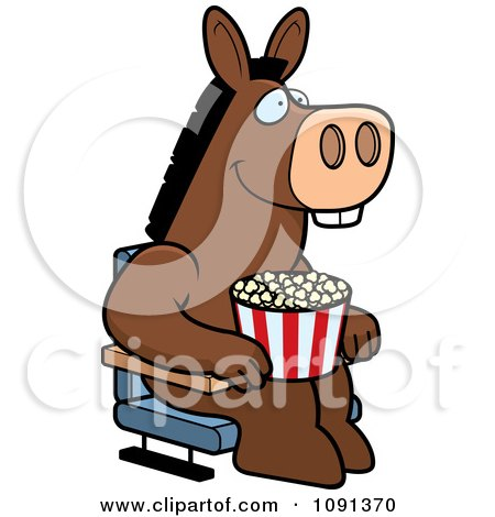 Clipart Happy Donkey With Popcorn At The Movie Theater - Royalty Free Vector Illustration by Cory Thoman