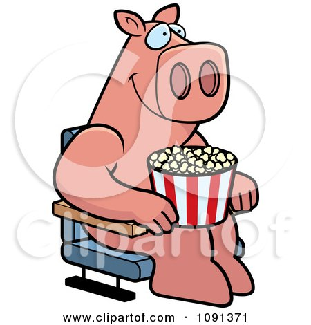 Clipart Happy Pig With Popcorn At The Movie Theater - Royalty Free Vector Illustration by Cory Thoman