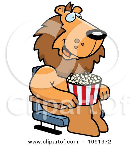 Clipart Happy Lion With Popcorn At The Movie Theater - Royalty Free Vector Illustration by Cory Thoman