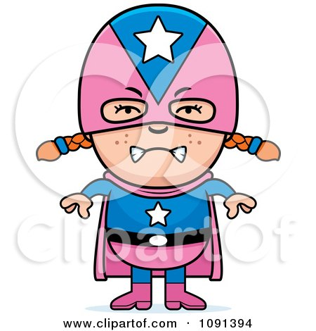 Clipart Mad Super Girl - Royalty Free Vector Illustration by Cory Thoman