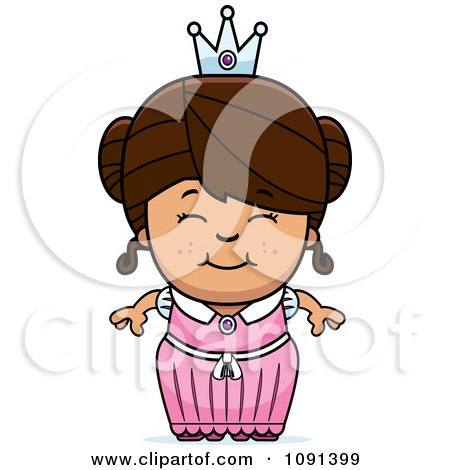 Clipart Cute Brunette Princess Girl - Royalty Free Vector Illustration by Cory Thoman