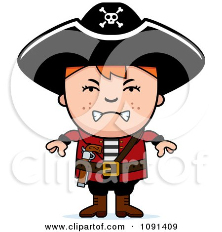 Clipart Mad Pirate Boy Royalty Free Vector Illustration