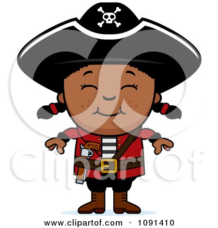 Clipart Happy Black Pirate Girl - Royalty Free Vector Illustration by Cory Thoman