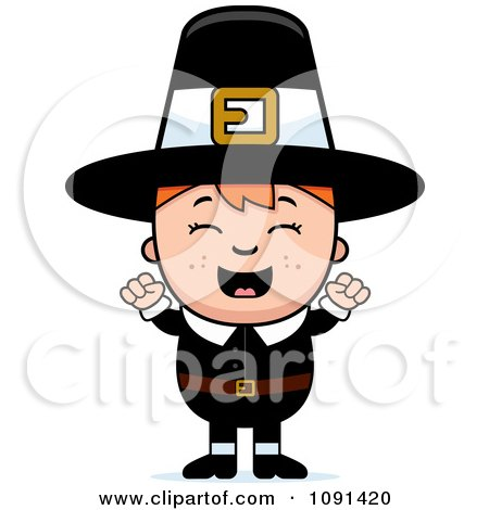 Clipart Happy Pilgrim Boy Cheering - Royalty Free Vector Illustration by Cory Thoman