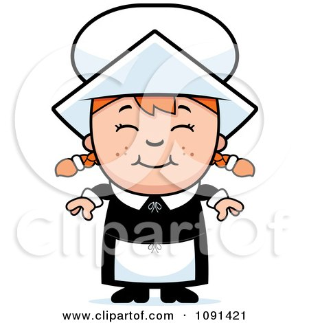 Clipart Happy Pilgrim Girl - Royalty Free Vector Illustration by Cory Thoman