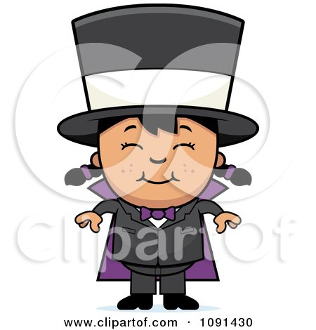 Clipart Happy Asian Magician Girl Smiling - Royalty Free Vector Illustration by Cory Thoman
