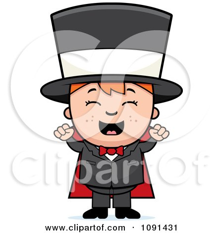 Clipart Happy Magician Boy Cheering - Royalty Free Vector Illustration by Cory Thoman