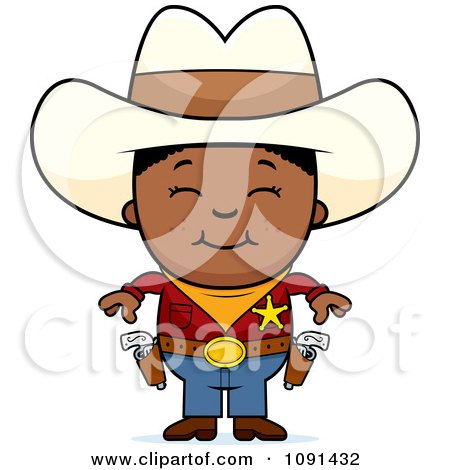 Clipart Happy Black Sheriff Cowboy Kid - Royalty Free Vector Illustration by Cory Thoman