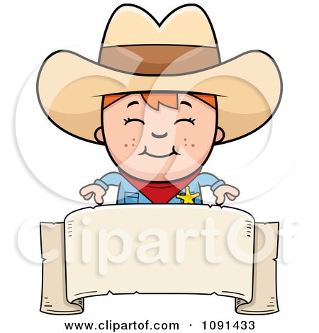 Clipart Happy Sheriff Cowboy Kid Over A Blank Banner - Royalty Free Vector Illustration by Cory Thoman