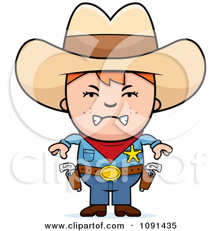 Clipart Mad Sheriff Cowboy Kid - Royalty Free Vector Illustration by Cory Thoman