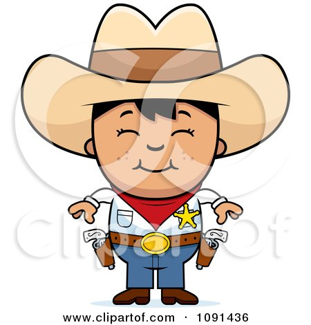 Clipart Happy Asian Sheriff Cowboy Kid - Royalty Free Vector Illustration by Cory Thoman