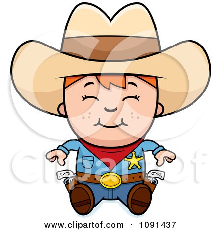 Clipart Happy Sheriff Cowboy Kid Sitting - Royalty Free Vector Illustration by Cory Thoman