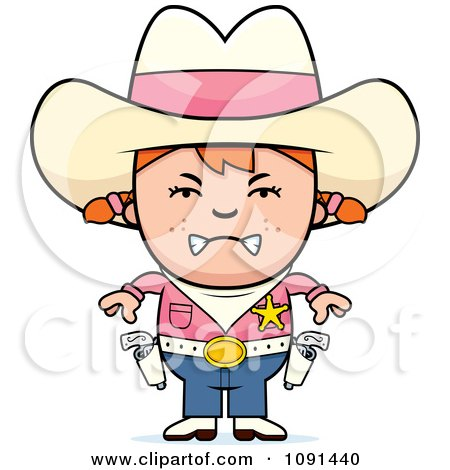 Clipart Mad Sheriff Cowgirl Kid - Royalty Free Vector Illustration by Cory Thoman