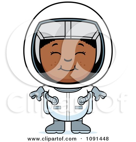 Clipart Happy Black Astronaut Girl - Royalty Free Vector Illustration by Cory Thoman