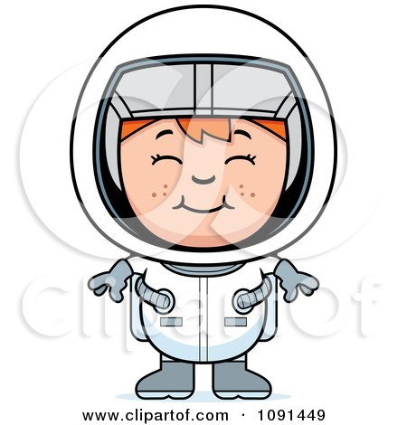 Clipart Happy Red Haired Astronaut Girl - Royalty Free Vector Illustration by Cory Thoman